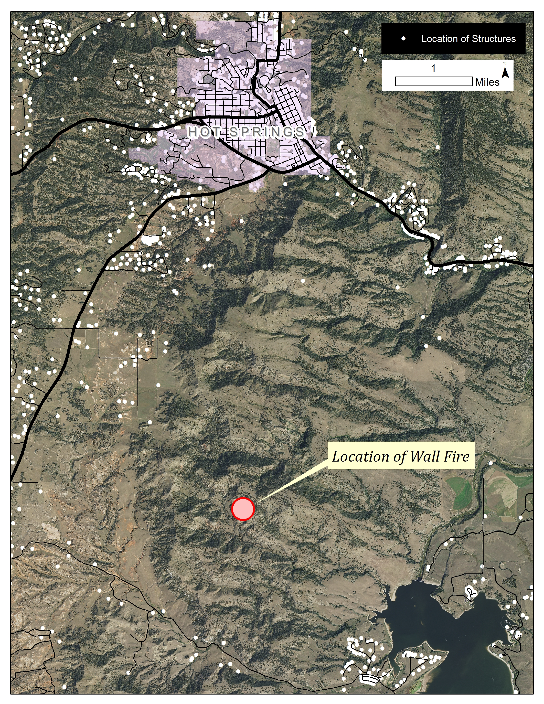 Map - location of Wall Fire