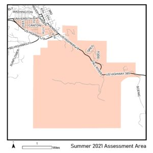 Map of summer 2021 assessment area.